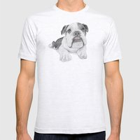 A Bulldog Puppy Mens Fitted Tee Ash Grey SMALL