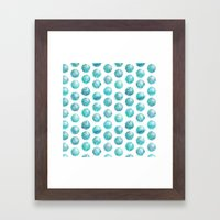 Sketchy Dots - Teal Framed Art Print