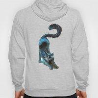 Black Blue Cat Stretchin… Hoody
