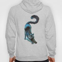 Black Blue Cat Stretching Drawing  Hoody