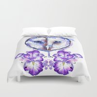 Owl And Irises Duvet Cover