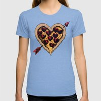 Pizza Love Womens Fitted Tee Tri-Blue SMALL