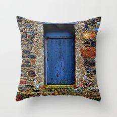 The Blue Door of Ballymascanlon Throw Pillow
