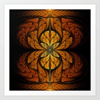 Glowing Feathers Fractal Art Art Print