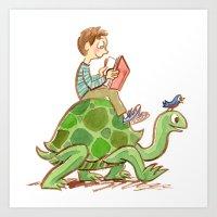 The Tortoise-Riding Read… Art Print
