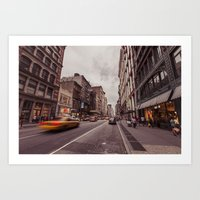 A Yellow Cab In SoHo Art Print
