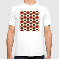 Hexagon pattern (red) Mens Fitted Tee White SMALL