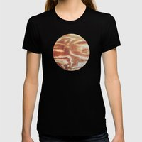Planetary Bodies - Wood Womens Fitted Tee Black SMALL