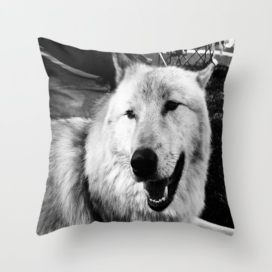 Wolf Dog Throw Pillow