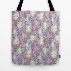 Cameo & Trailing Hair // Pink & Blue Pastels Tote Bag