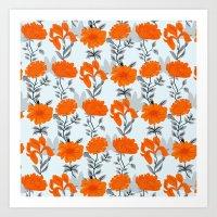 Tangerine floral  Art Print