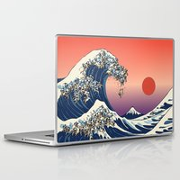 japanese Laptop & iPad Skins featuring The Great Wave of Pug   by Huebucket