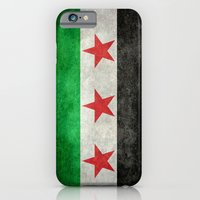 "iPhone Cases featuring The Syrian ""independence flag""  retro style version by Bruce Stanfield"