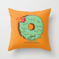 The Zombie Donut Throw Pillow