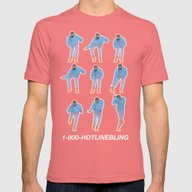 Hotline Bling (blue) Mens Fitted Tee Pomegranate SMALL