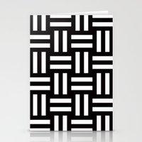 B/W rail fence pattern Stationery Cards