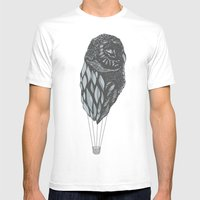 Hot Owl Balloon Mens Fitted Tee White SMALL