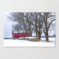 Red Barn in Winter with Hay Bales Canvas Print