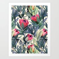 home Art Prints featuring Painted Protea Pattern by micklyn