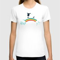 One Happy Cloud Womens Fitted Tee White SMALL