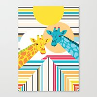 Giraffes In The Desert Canvas Print