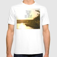 You Only Live Forever SMALL White Mens Fitted Tee