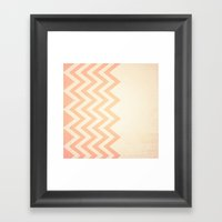 Orange Textured Chevron Framed Art Print