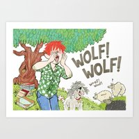 The Boy Who Cried Wolf Art Print