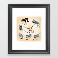 French bulldog playing with a basketball Framed Art Print