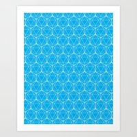 Icosahedron Pattern Bright Blue Art Print