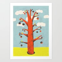 Red Tree, Yellow Birds Art Print