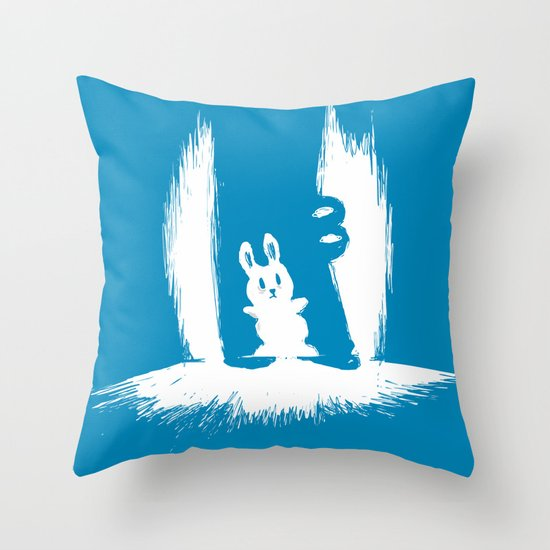 cornered! (bunny and crocodile) Throw Pillow