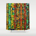 Abstract Geometric Fabric Shower Curtain