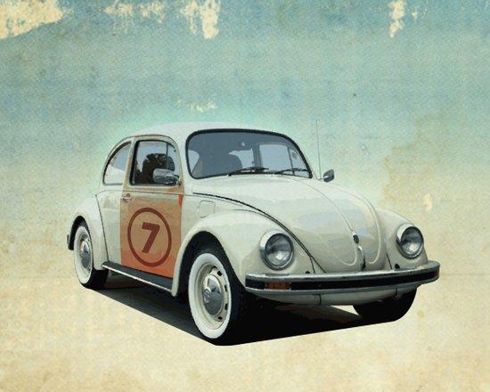 Number 7 - VW beetle Art Print