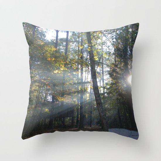 Sun Peaking through Woods. Throw Pillow