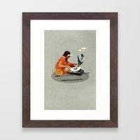 Blind, deaf too | Collage Framed Art Print