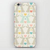Bunnies And Hearts iPhone & iPod Skin