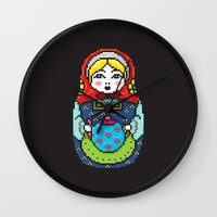16bit Matrioska Black Background Wall Clock