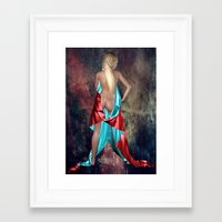 Nude with drape back view Framed Art Print