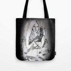 Girl and her black cat Tote Bag