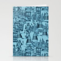 Doctor Who Toile de Jouy | 'Walking Doodle' | Turquoise Stationery Cards