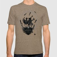 Dia de los Muertos Roadrunner and Coyote Mens Fitted Tee Tri-Coffee SMALL