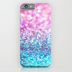 Pastel sparkle- photograph of pink and turquoise glitter iPhone 6 Slim Case