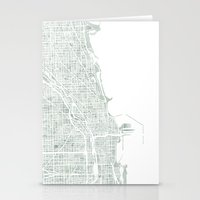 Map Chicago City Waterco… Stationery Cards
