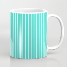 Vertical Lines (White/Turquoise) Mug