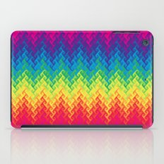neon rainbow flame chevron iPad Case