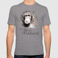 Chimpanzee (BornInNature) Mens Fitted Tee Tri-Grey SMALL