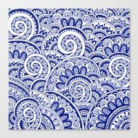 Midnight Blue Maze Canvas Print