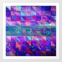 "2 Corinthians 12:9 ""Grace"" (purple triangles) Art Print"
