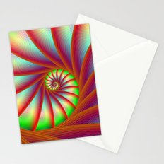 Staircase Spiral in Orange Blue and Green Stationery Cards